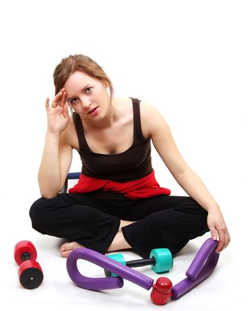 woman is exercising photo