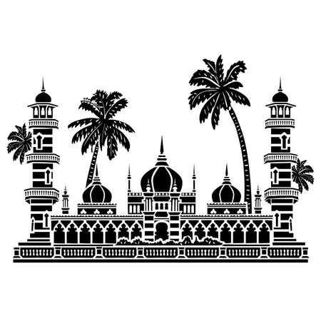 wed: Famous Mosque shape. Use this image for unique design of travel tour promotion, card, invitation, wed, greeting, banner, poster, ticket, flyer, template, booklet, leaflet, brochure. Illustration