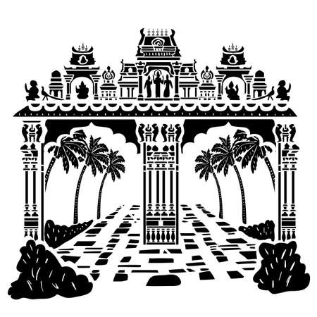 Famous Batu cave hinduist temple gate shape. Use this image for unique design of travel tour promotion, vintage post card, invitation, wed, greeting, banner, poster, ticket, flyer, template, booklet, leaflet, brochure. Illustration
