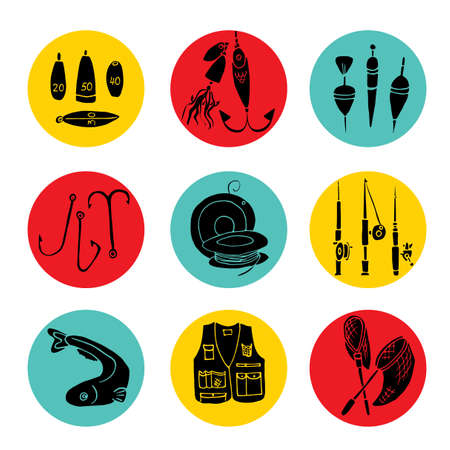Hand drawn scribble icon set. Fishing gear collection. Round  grey background with colorful  fishing kit. Illustration