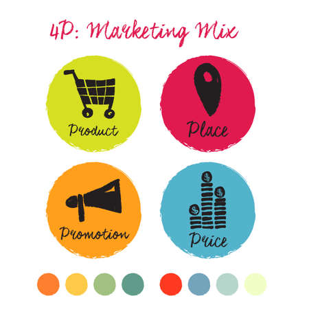 4 P: Marketing mix elegant icon kit. Hand drawn design of images and calligraphic script. Colorful background: green, orange, red, blue. Use other palettes below. Illustration