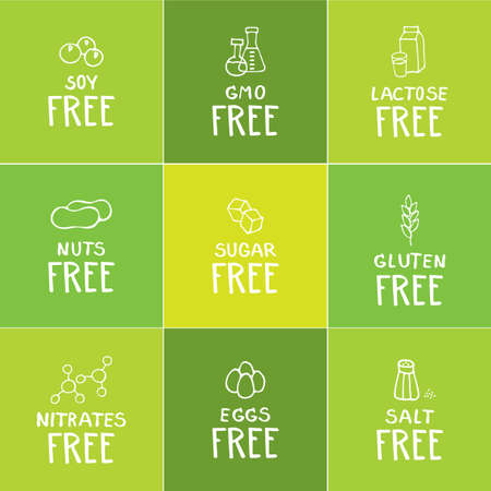 soy free: Hand drawn food dietary label set. White on natural nuances of green color square background.
