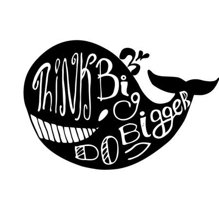 scribe: Negative space whale lettering. Black and white.