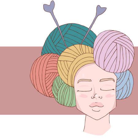 Design dell'emblema a maglia / uncinetto. Linea logo del negozio fatto a mano in lana. Logo in filato fatto a mano per maestri fatti a mano. Logo