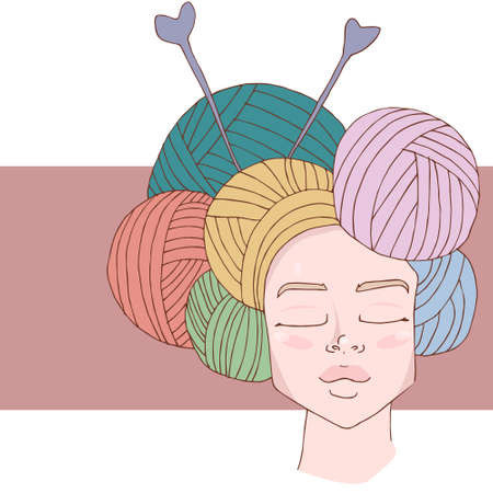 Knit / crochet emblem design. Line wool handmade shop logo. Yarn hand made logo for handmade masters.