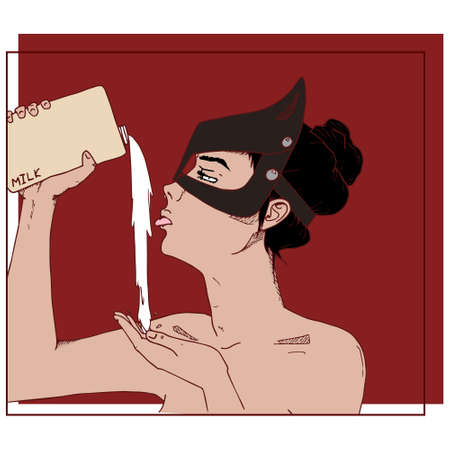Sexy girl with milk. Hand drawn vector illustration.