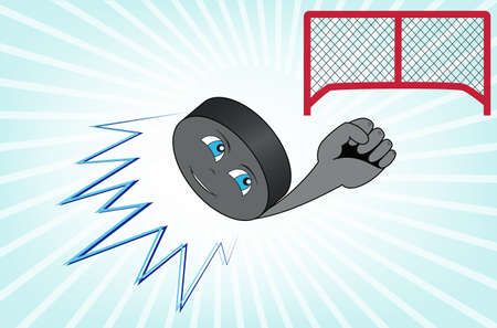 hockey goal: The hockey puck flying into the goal
