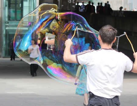 Man Blowing Bubble Stock Photo - 17870169