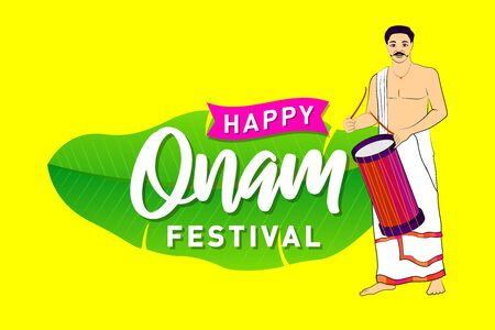 Festival of South India, Happy Onam Banner, Logo design, Sticker, Concept, Greeting Card, Template, Icon, Poster, Unit, Label, Web, Mnemonic with banana leaf typography on yellow background.