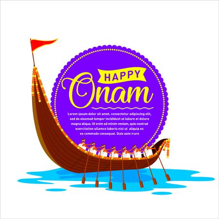 South India's Happy Onam Invitation card, Print Banner, Logo design, Sticker, Concept, Greeting Card, Template, Icon, Poster, Unit, Label, Web, Mnemonic with rays and Snakeboat race, Vallam-kali team.