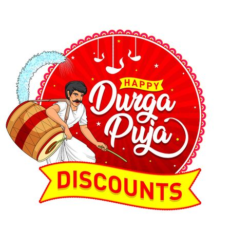 Indian Festival Celebration. Happy Durga Puja Discounts Logo Design, Banner, Sticker, Concept, Greeting Card Template, Icon, Poster, Unit, Label, Web, Mnemonic on Red Background. Goddess Durga Maa.