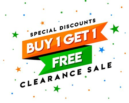 Buy 1 Get 1 Free Clearance Sale Tag, Banner Template, Special Discount App Icon, Logo Design, Sticker, Concept, Greeting Card Template, Poster, Unit, Label, Web, Mnemonic with stars background - Vetor Logo