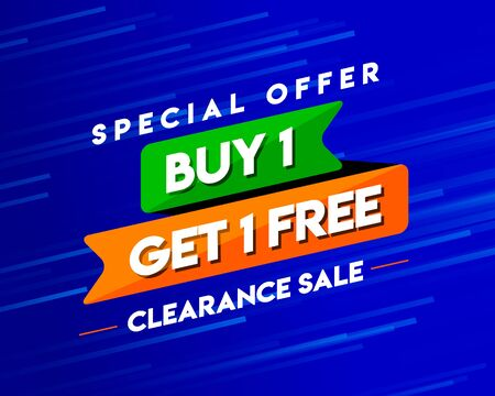 Buy 1 Get 1 Free Clearance Sale Tag, Banner Template, Special Discount App Icon, Logo Design, Sticker, Concept, Greeting Card Template, Poster, Unit, Label, Web, Mnemonic with stars background - Vetor