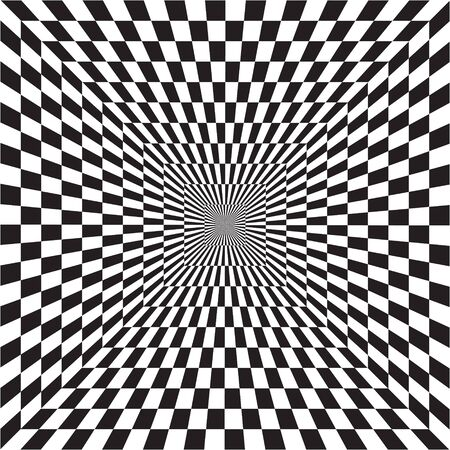 Abstract optical illusion of B&W tunnel out into the distance, black and white geometric pattern, psychedelic, chess board, OP art, Optical art as background pattern - vector, illustration