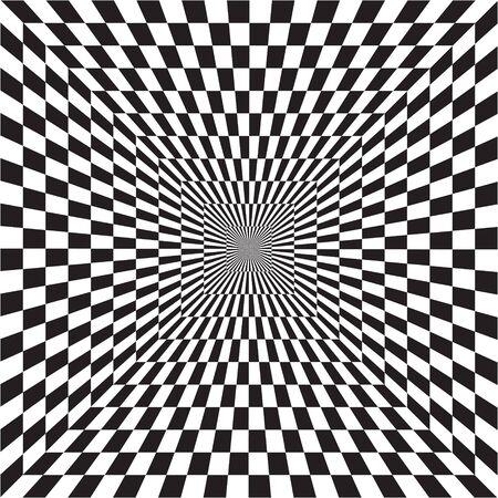 Illusione ottica astratta del tunnel B&W in lontananza, motivo geometrico bianco e nero, psichedelico, scacchiera, OP art, arte ottica come motivo di sfondo - vettore, illustrazione