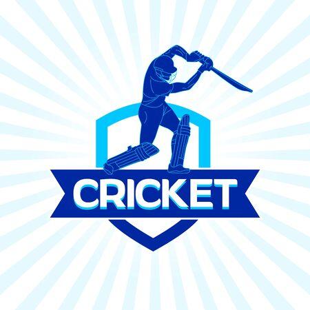 Diseño de equipo de cricket abstracto, concepto, cartel, plantilla, banner, icono, unidad, etiqueta, web, mnemotécnico - vector, ilustración