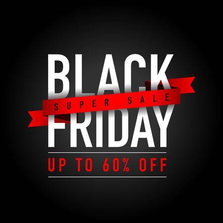 Black Friday Super Sale Discount Concept, Design, Template, Banner, Icon, Poster, Unit, Label, Web, Symbol, Sign, Mnemonic on a dark black background - Vector, Illustration Vektorgrafik