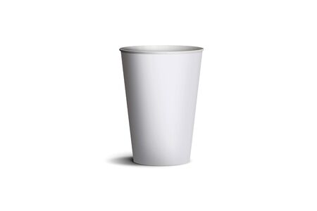 3D illustration of white blank paper cup or glass, on isolated white background. Empty tea or coffee cup mockup for presentation on isolated background. realistic plastic cup
