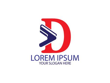 Initial Letter D library books Design Logo Graphic Branding Letter Element.