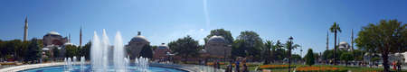 Istanbul, Turkey, July 30, 2017: Panoramic view of  fountain in front of Hagia Sofia museum (mosque and church before) and Blue mosque , Istanbul Editorial