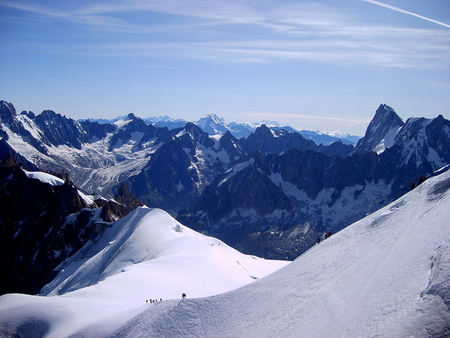 Climbing in massive Mont Blanc, Chamonix, France