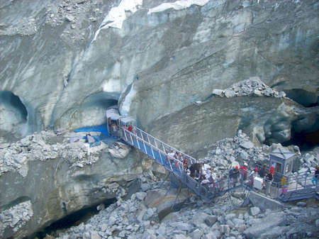 Stairs going to the entrance of the Mer de Glace cave, Chamonix, France