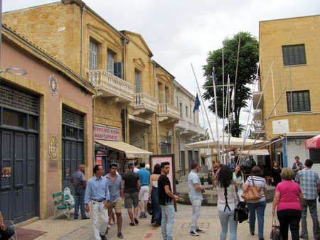 Nicosia, Cyprus - Jun 7, 2014: View to Ledra street crossing point monument