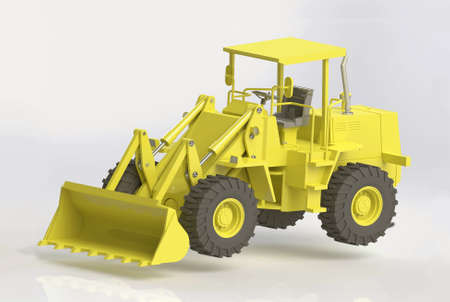 3D render of yellow heavy front loader
