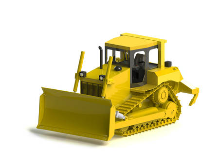 earth moving: Heavy Equipment Bulldozer  A large earth moving machin  Stock Photo
