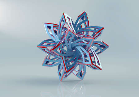 starlike: 3D render of geometric assembly star-like puzzle