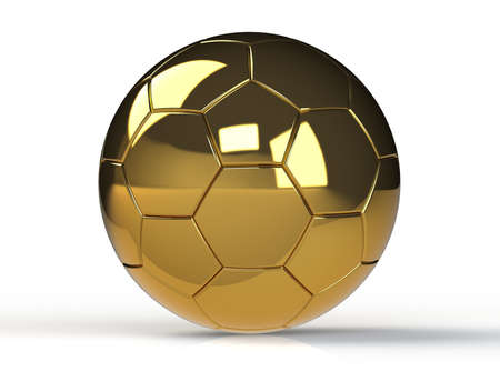 socer: golden soccer ball isolated on white background with clipping path. Playing football game Stock Photo