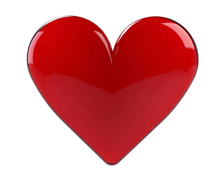 solated: Red heart solated on white. Love symbol.3D Stock Photo