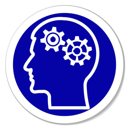 thinking of you: gears in human head -  blue round sticker. Thinking process, intelligence, future, memories,  problems. Vector illustration, you can simply change color