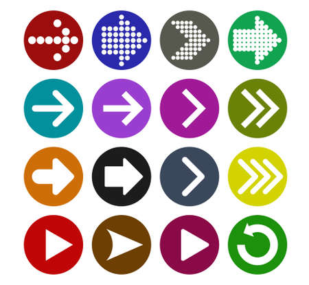 next icon: Arrow sign icon set  vector illustration web design elements. Simple circle shape internet button on white background Illustration