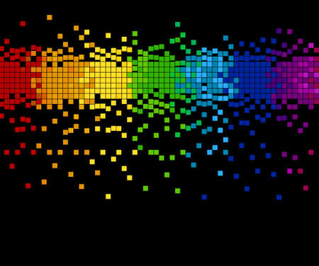 bright colored mosaic - pixel blocks, vector illustration - you can change the background color and the color of pixels