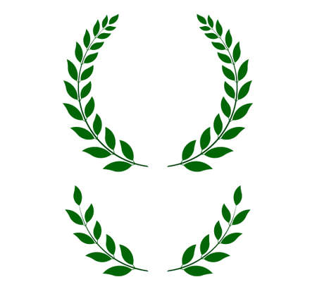 green laurel wreaths -  round and half for main emblem and bottom. Vector format, fully editable, you can change form and color