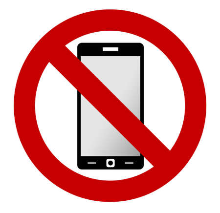 no label: No mobile phone allowed sign. Turn off mobile phone. No cell phone sign. Vector illustration, phone and sign are on separate layers, you can simply change color. Illustration