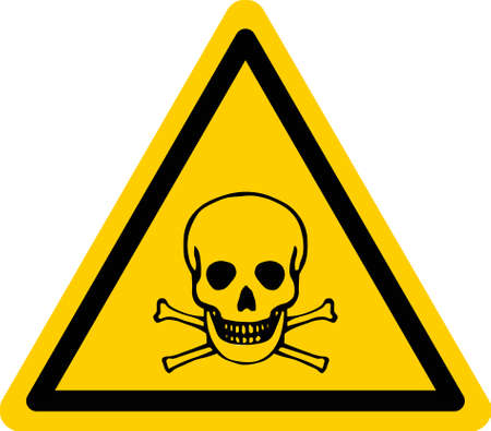 Yellow triangular danger sign with skull and bones. Vector Illustration