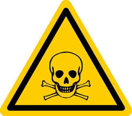Yellow triangular danger sign with skull and bones. Vector Illustration