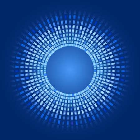 青の抽象的な背景 - 熱烈なピクセル、同心円のサークル。ベクトル イラスト - 単に色を変更することができます  イラスト・ベクター素材