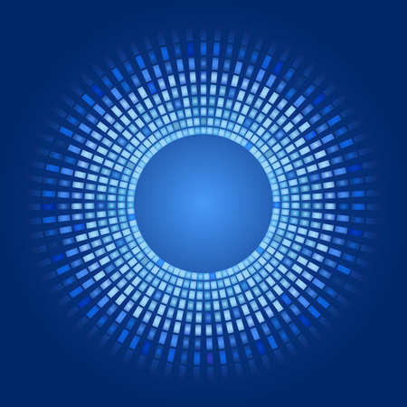 blue abstract background - circles of glowing pixels, concentric circles. vector illustration - you can simply change the color