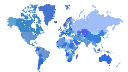 blaue Weltkarte mit Grenzen von Ländern auf weißem Hintergrund
