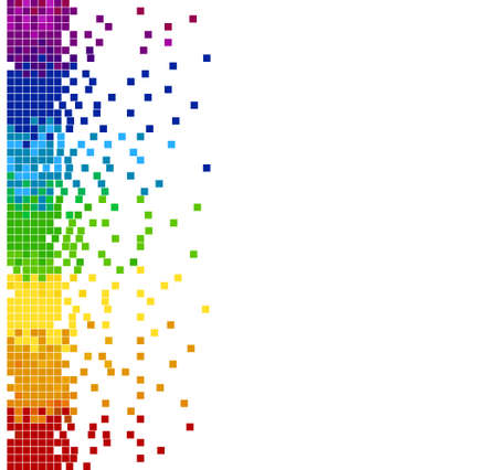 Bright vertical colored mosaic - pixel blocks. Vector illustration - you can change the background color and the color of pixels