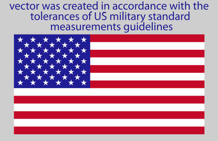 us military: the Flag of USA has very specific dimensions,this vector was created in accordance with the tolerances of US military standard measurements guidelines Illustration