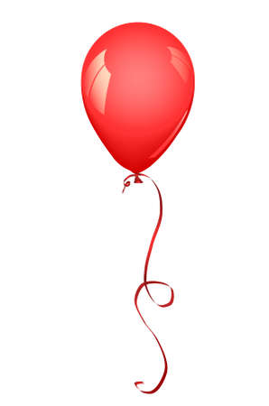 inflated: Red latex balloon inflated. Vector illustration - you can change color of  and the color of balloon and reflection