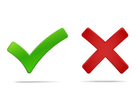 Marca de verificación y cruz, sí, no hay símbolos verdes y rojos. Ilustración vectorial, puede cambiar fácilmente el color y el tamaño