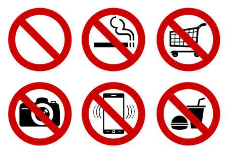 Aucun ensemble de signes pour les différentes activités interdites. Ne pas fumer, ni boire, ni photographie, et d'autres. Vector illustration - vous pouvez simplement changer de couleur et la taille Banque d'images - 42797148