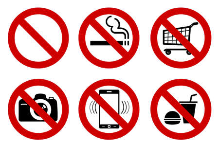 set of No signs for different prohibited activities. No smoking, no drinking, no photographing, and other. Vector illustration - you can simply change color and size Ilustração
