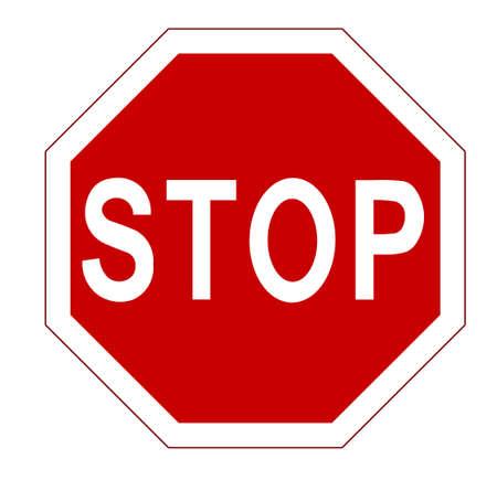 STOP. Rood achthoekige stopbord voor verboden activiteiten. Vector afbeelding - kunt u eenvoudig veranderen kleur en grootte Stock Illustratie