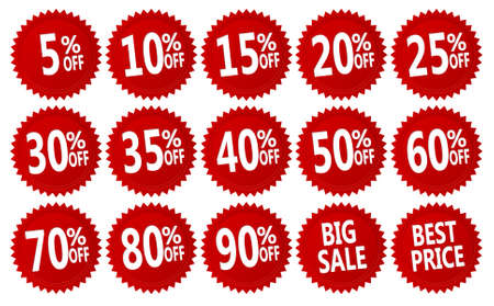 promotion icon: red discount stickers set. vector collection, you can simply change color and size